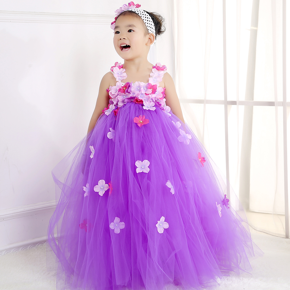 Gorgeous Flower Girl Wedding Tulle Tutu Dress Kids Girl Lace Flowers ...