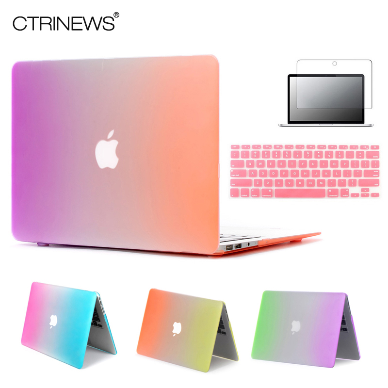 CTRINEWS Rainbow Matte Case For Apple Macbook Air 13 Case Air 11 Pro 13 Retina 12 13 15 Laptop Bag For MacBook Pro 13 Case 45w car charger adapter for apple macbook air pro retina laptop
