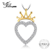 JewelryPalace Romantic Heart 0 35 Ct Cubic Zirconia Pendant Necklaces Crown Plated Gold 45cm Chain 925