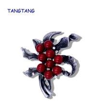 New Fashion Black Tone Handmade Beaded Tin Alloy Retro Style Jewelry Pins With Red Stone Trendy