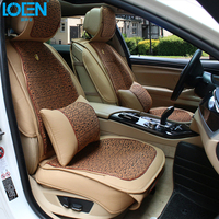 1 Set Linen Car Seat Covers Supports Leather Auto Interior Decoration Accessories Protector For BMW 525li