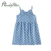 PluckyStar Polka Dots Dresses For Girls Blue Denim Girls Dress Summer Sleeveless Vestido Infantil Roupas Infantis