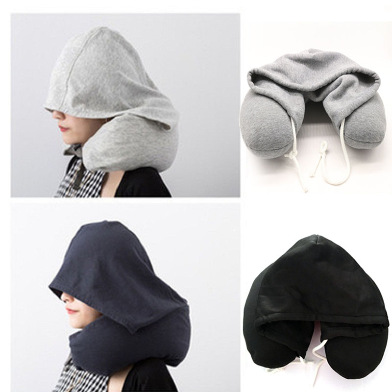 Soft Hooded U-pillow Body Neck Pillow Solid Grey Nap Cotton Particle Pillow Textile Home Airplane Car Travel Pillow Accessories