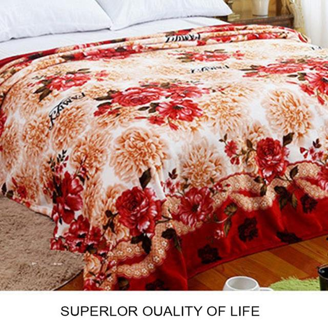 Home textiles bright noble flower coral fleece blankets for bed 3 Sizes