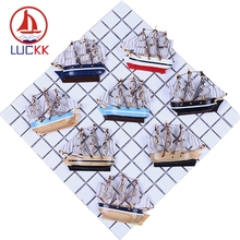 LUCKK 10CM Simulation Sailboat Firdge Magnets Creative Wooden Ships Handmade Model Decor Refrigerators Kitchen Sticker Souvenir