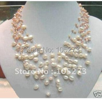 Fancy Starriness Real White & Pink Pearl Necklace FN690