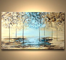 Handpainted Texture Modern Flowering Painting Forest Landscape Abstract Knife Palette Oil Painting on Canvas Wall Art Blue Light
