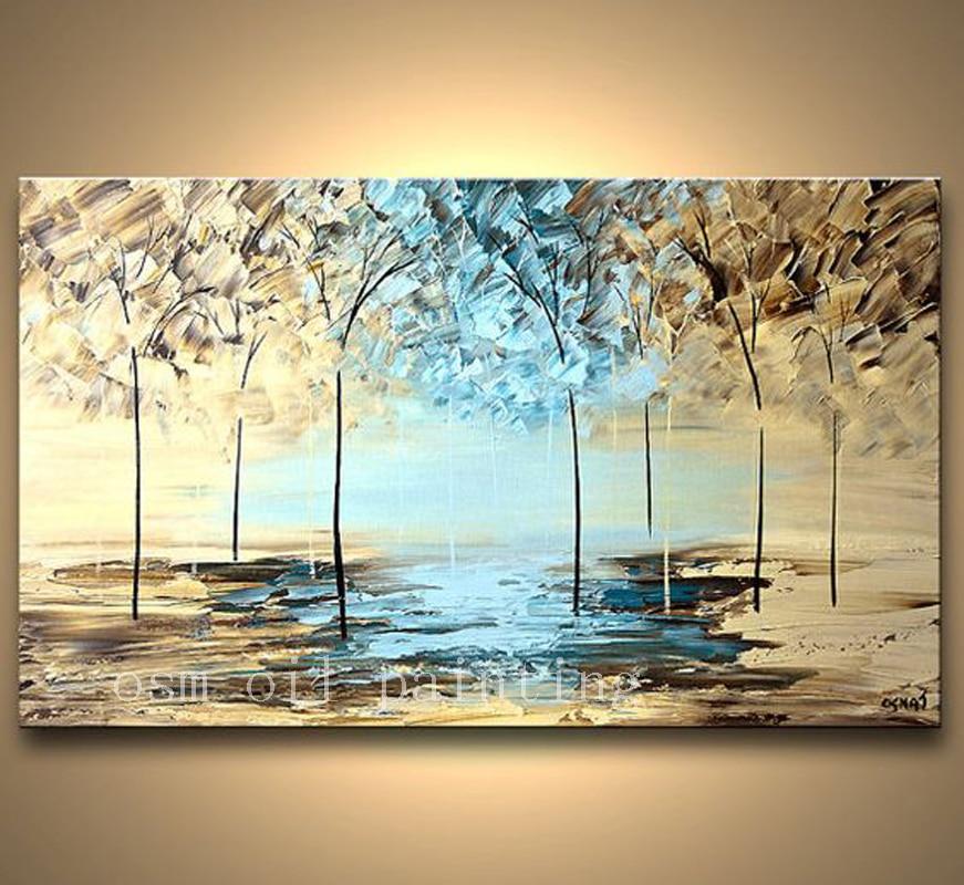 손으로 그린 질감 현대 꽃 그림 숲 풍경 추상 나이프 팔레트 유화 캔버스 벽 예술 블루 라이트