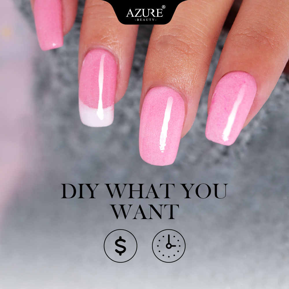 Azure Beauty 4 Pcs/lot Nail Mencelupkan Bubuk Kering Alami Dekorasi Kuku Tanpa Lampu Menyembuhkan Base Top Penggerak Cair
