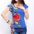 Women's summer national wind T-shirt ladies cotton embroidered flowers big yards short-sleeved t-shirt female casual T-shirt