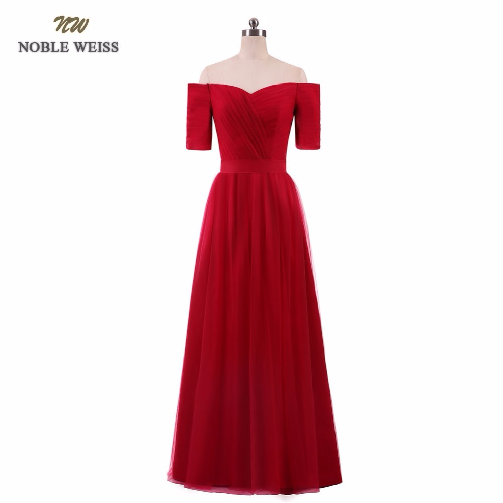 NOBLE WEISS Floor-Length   Prom     Dress   V-Neck Sexy Tulle Short Sleeves Junior School   Prom   Gown Custom Made Special Occasion   Dresses