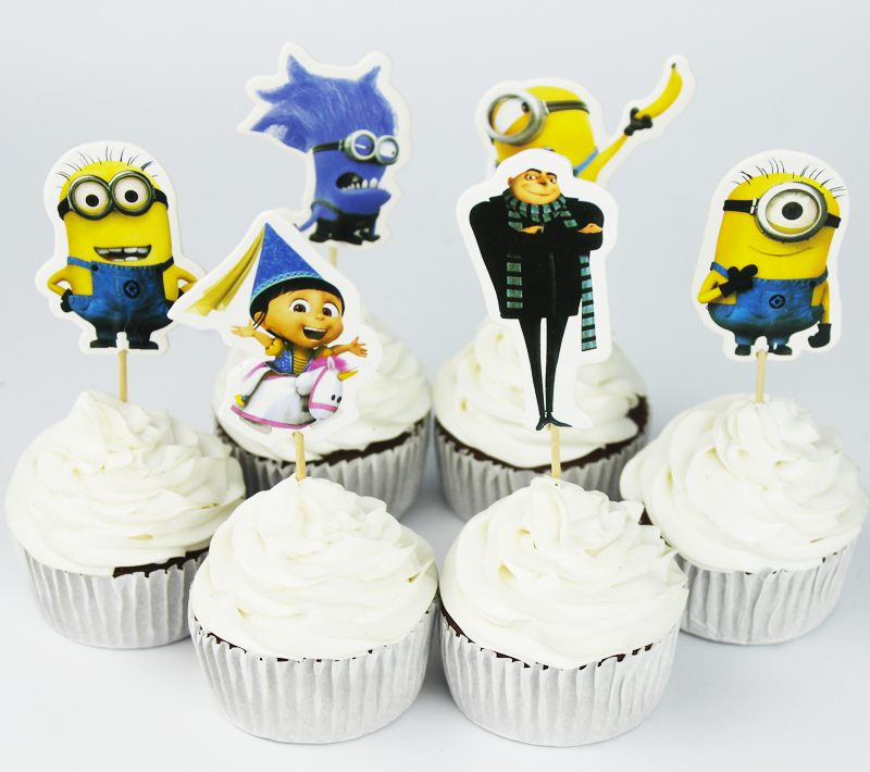 24pcs Despicable Me Gru Minion Cupcake Topper Picks Birthday Wedding