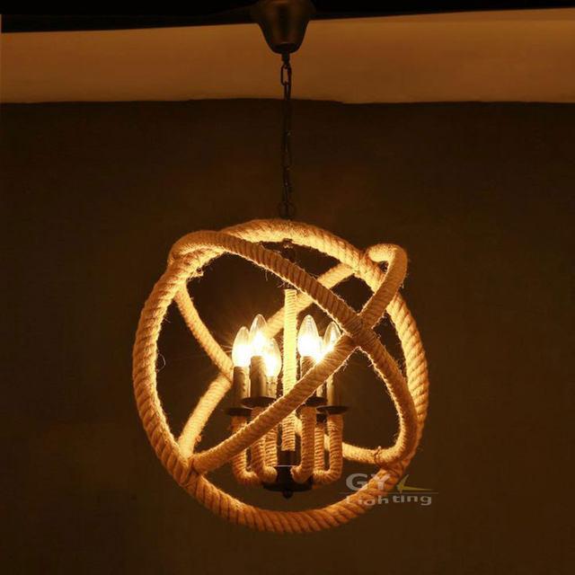 Rope 3 6 Lights Art Deco Pendant Rustic Nautical Hanging Fixture Orb Wrap Western Lamps Lighting Items