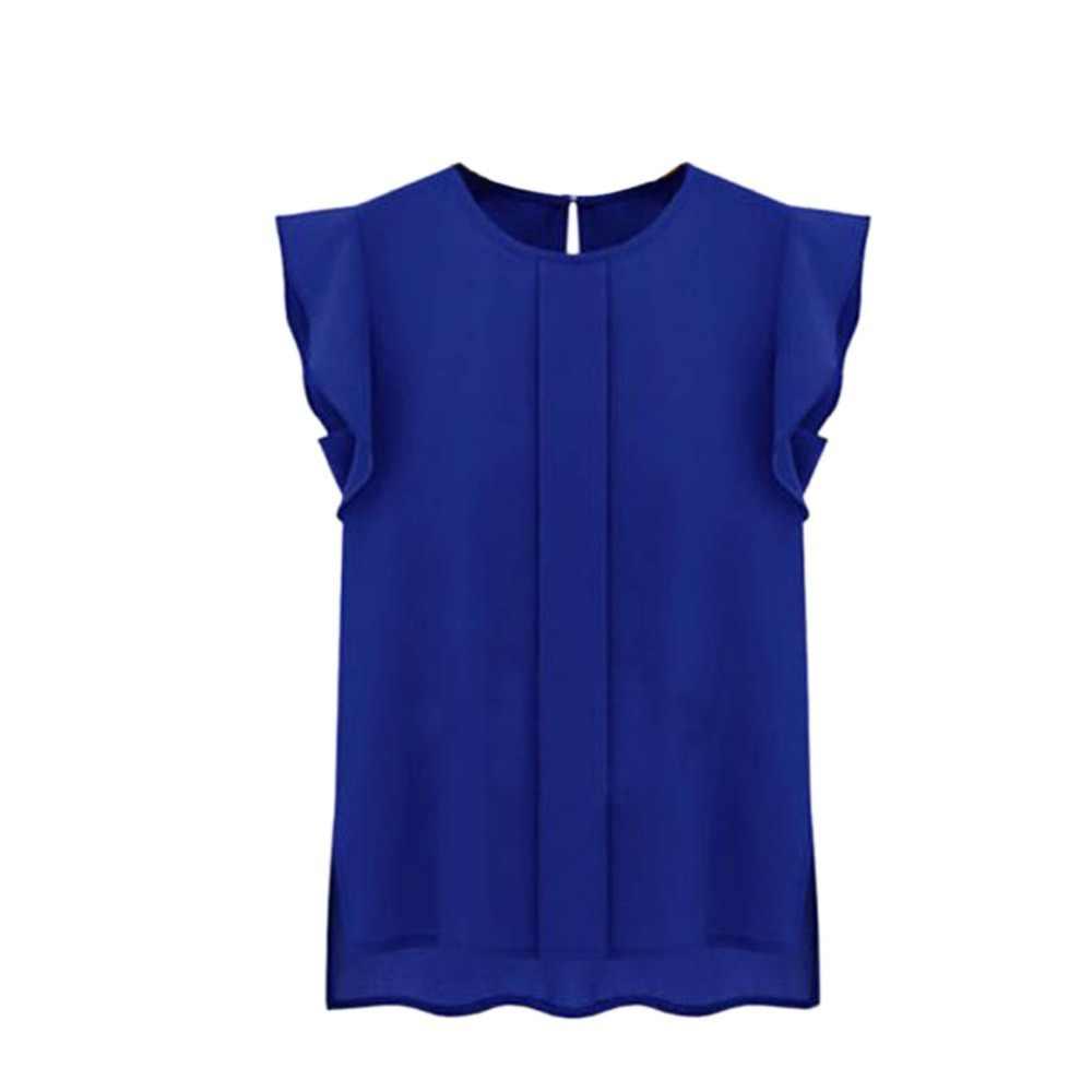 女性春夏シフォンブラウス O ネックフリル半袖シフォンシャツトップ 2019 新着レディース Tシャツ blusa feminina トップス