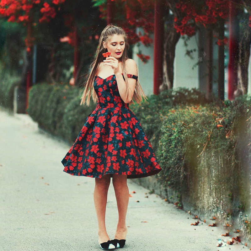 Ever-Pretty Fashion Off The Shoulder   Prom     Dresses   Short Floral Print New Design Formal Gala   Dress   for Special Occasion EP05947NR