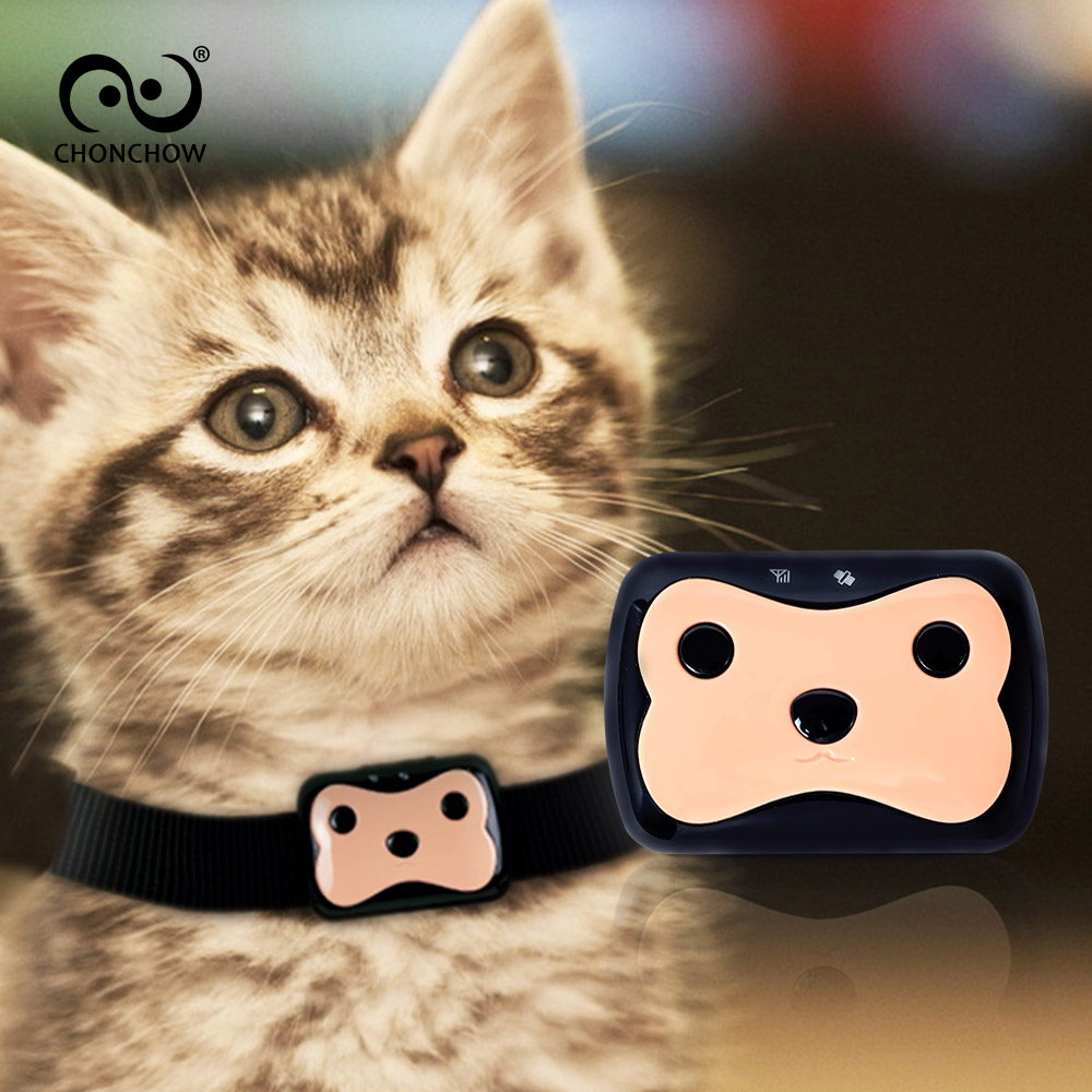 ChonChow Mini Waterproof GPS <font><b>Tracker</b></font> with Collar for Pets Cat <font><b>Dog</b></font> 4 Frequency GPRS GPS+LBS Dual Location with Free APP