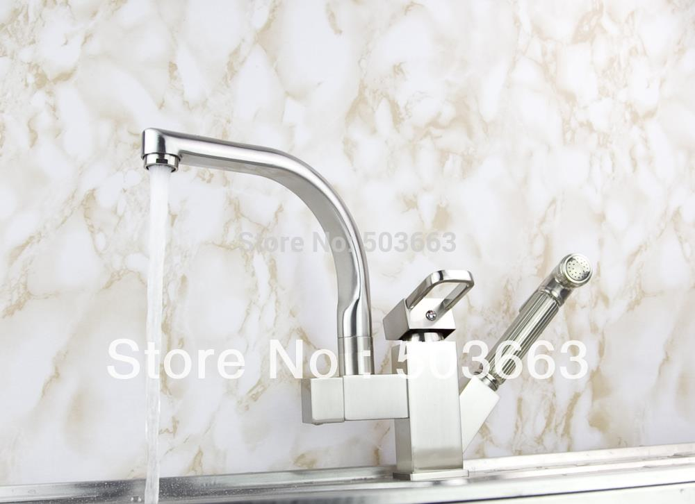 Wholesale Pull Out And Swivel Double Outlet Brushed Nickel Kitchen Sink Brass Faucet Sink Mixer Tap Vessel Faucet Crane S-115 wholesale and retail chrome finished pull out sink kitchen faucet swivel vessel sink mixer tap pull out crane kitchen mixer mjh8