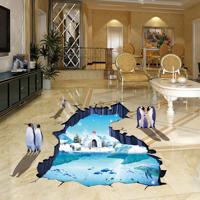 New 3d Floor Large Wall Stickers For Kids Rooms Boys Antarctic Penguin Wallpaper Waterproof Home