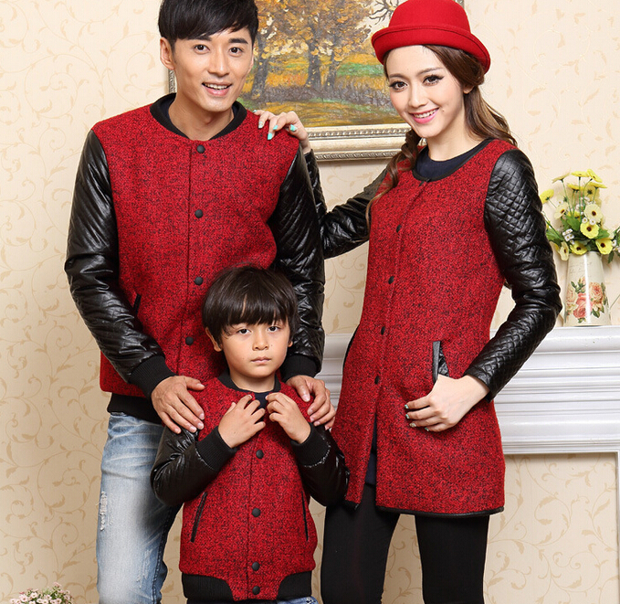 ФОТО Family/Lovers Fashion Woolen Jackets/Coats Clothes for Father Mother Son/Daughter Children Wool & Blends Autumn & Winter CHH88