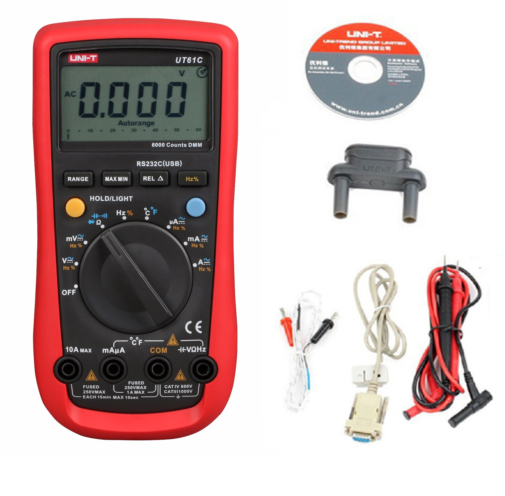 2017 New UNI-T UT-61C Modern Digital Multimeters UT61C AC/DC voltage current auto/manual range Meter backlight & RS232 торшер arte lamp duetto a4399pn 2ss