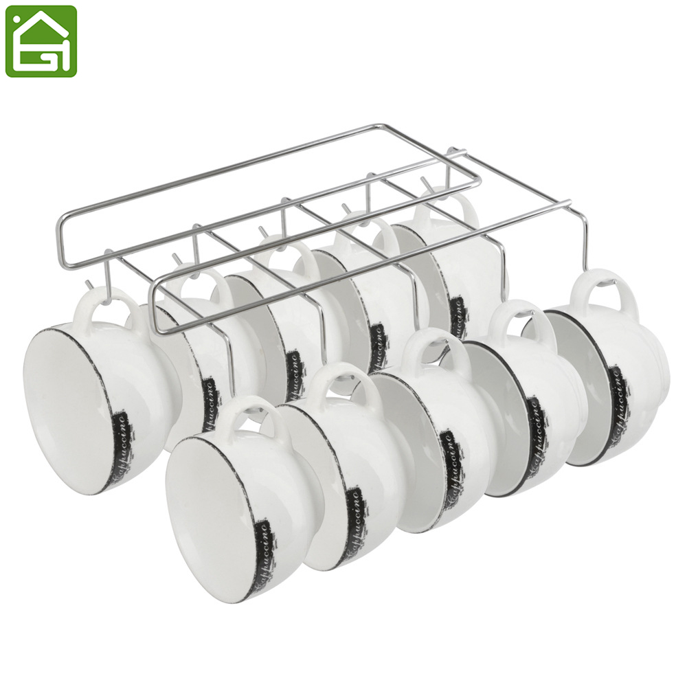 Iron Cup Hanging Holder Under Cupboard Shelf Coffee Cup Hooks Cabinet Glass  Mug Drinkware Organizer With