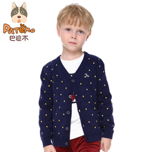 PATEMO Boys Cardigan V-Neck Full Sleeves Single Breasted Knitted Sweaters Spring&Autumn Cardigan Kids 4T~10T Children Clothing