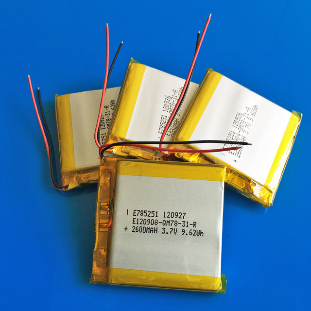 5 pcs 3.7V 2600mAh 785251 polymer lithium rechargeable li ion battery LPIB for GPS DVD PDA PAD power bank camera tablet laptop