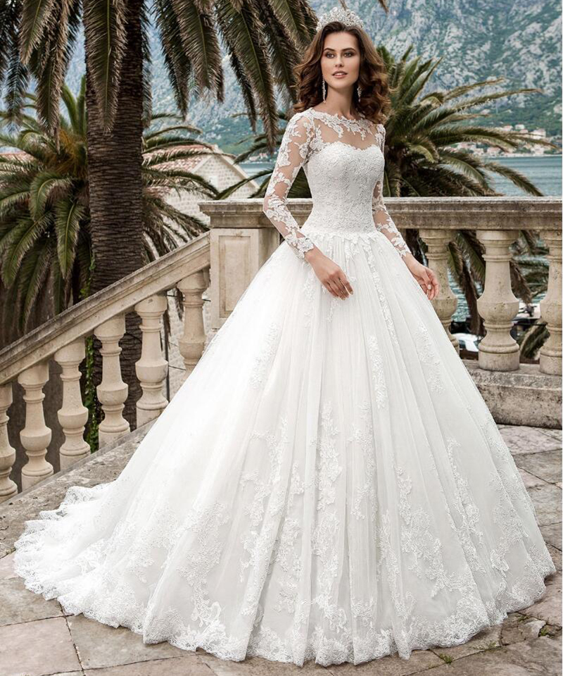 Buy elegant lace long sleeve princess for Elegant ball gown wedding dresses