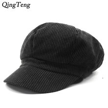 2018 New Corduroy Newsboy Caps Unisex Solid Warm Autumn Winter Fashion Painter Cap Women Men Vintage Octagonal Cap Casual Beret(China)