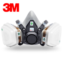 3M 6200+6001 Respirator Half-face Mask Painted Activated Carbon Mask Against Organic Vapor Gas Cartridges 7 Items for 1 Set G222