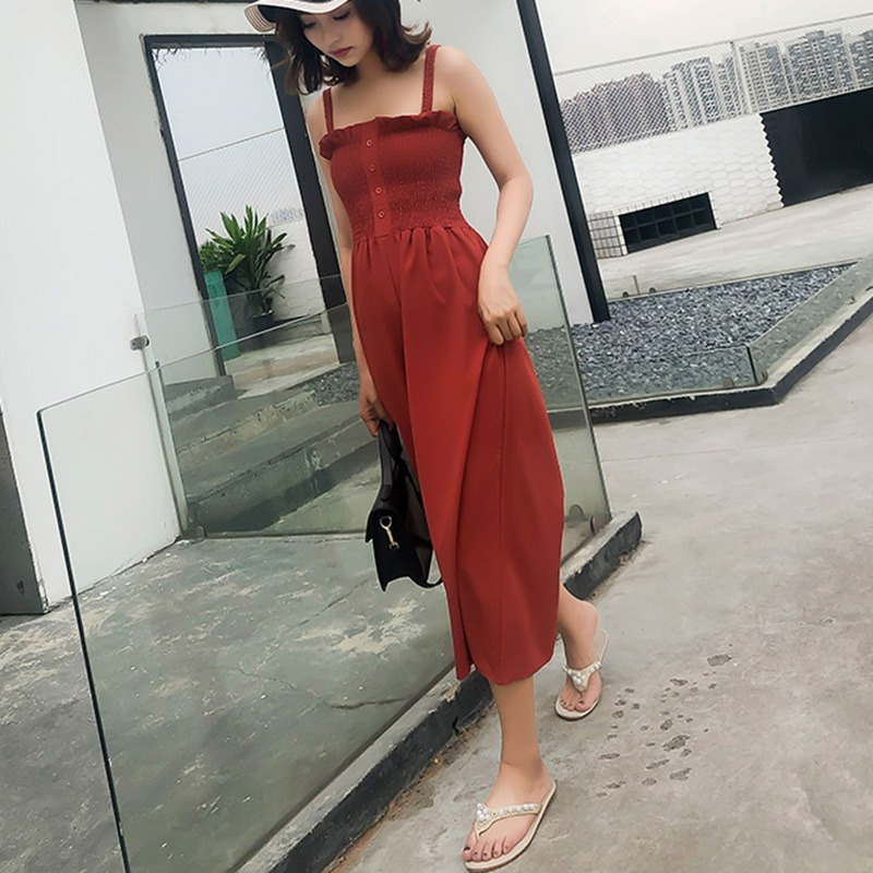 Womens Sleeveless   Jumpsuit   Sexy Spaghetti Strap Rompers Casual Wide legs   Jumpsuits   Overalls