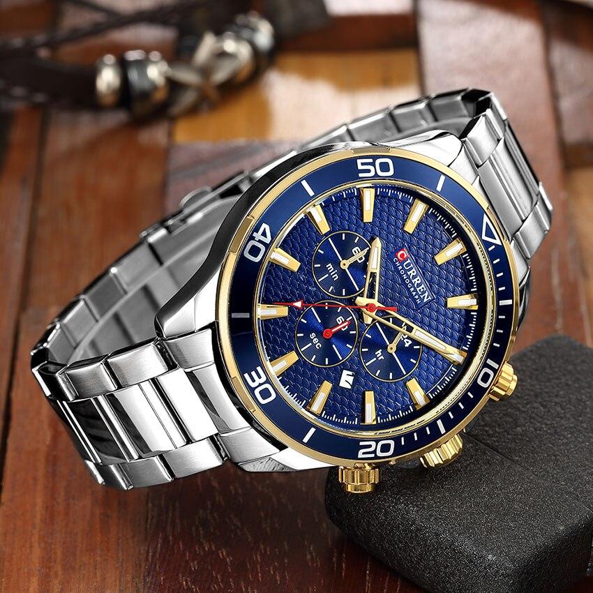 цены на NEW Curren Watch Analogic Watches Men Fashion Watch Stainless Steel Quartz Curren Watches Men Brand Luxury Quartz Male Clock в интернет-магазинах