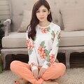 Primavera y otoño algodón femenino de manga larga 100% algodón de dibujos animados ropa de noche salón