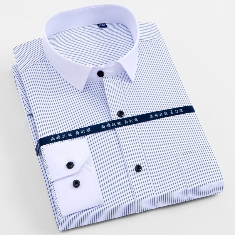 Men's Long Sleeve Solid/striped Basic Design Dress Shirts With Single Chest Pocket Regular-fit Formal Twill Work Office Shirt