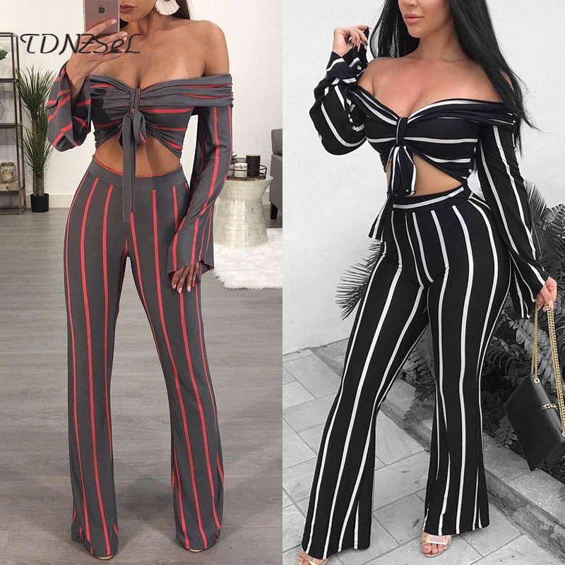 Sexy Long Flare Sleeve Off Shoulder Tube Crop Tops Striped Slim Wide Leg Pants 2 Two Piece Sets Women Casual Backless Twin Set