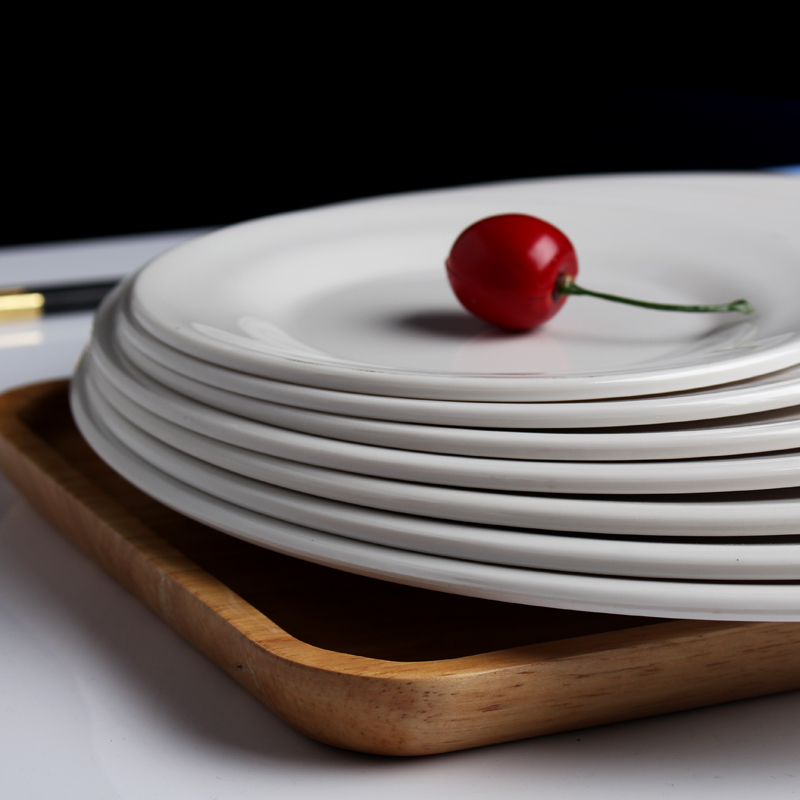 15 28CM Thick Melamine Plastic Plates Hotel Flat Plates Round Fruit Dish Tray Plain White A5 high grade Tableware Dinner Service-in Dishes u0026 Plates from ... & 15 28CM Thick Melamine Plastic Plates Hotel Flat Plates Round Fruit ...
