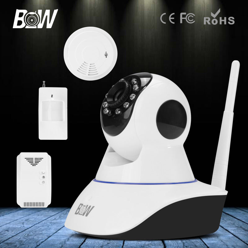 HD 720P Wireless IP Camera Wi-Fi Infrared Motion Sensor + Gas & Smoke Detector Onvif Surveillance Security Camera WiFi wifi surveillance camera ip onvif infrared motion sensor alarm security remote control network wireless ip camera wi fi