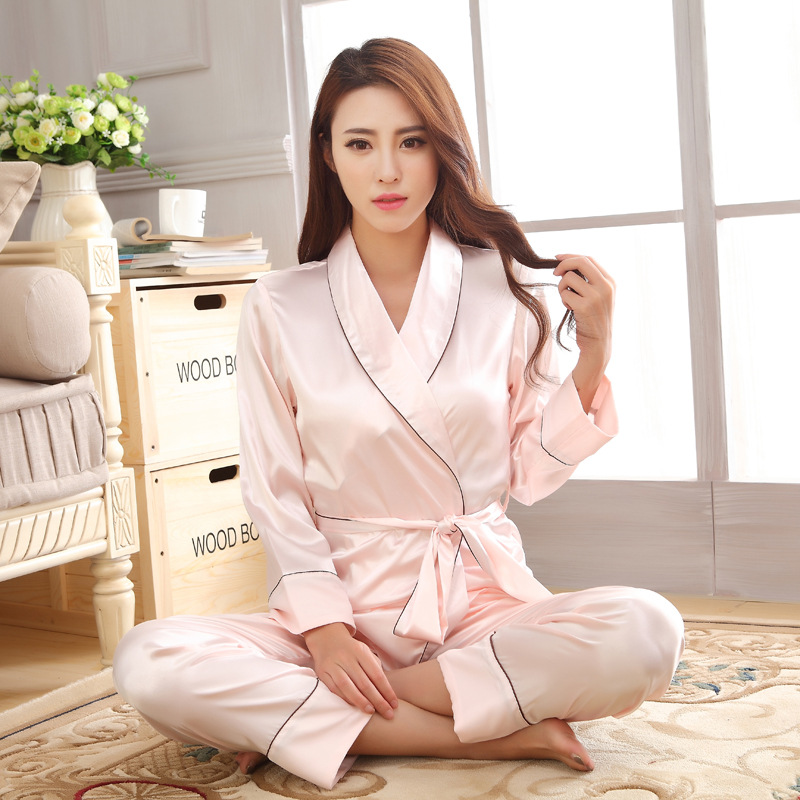 Autumn   Pajamas     Set   Casual Home Clothes Ladies Solid Night Gown Waistband Sleepwear Suit Rayon 2PCS Shirt&Pants Negligee M-XXL