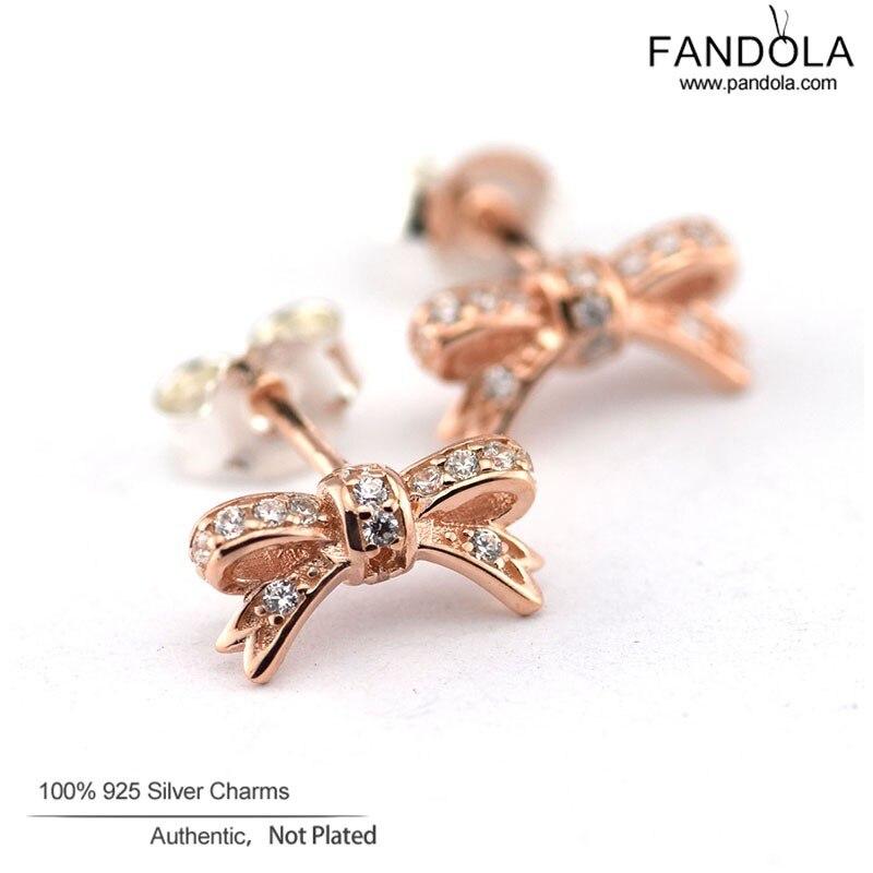 FANDOLA 100 925 Sterling Silver Jewelry Stud Earrings for Women Rose Gold Color Sparkling Bow Earrings