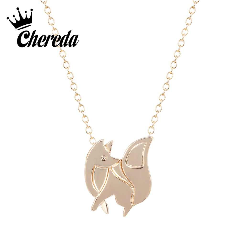 Chereda Simple Fox Shape Necklace for Women Gold Silver Trendy Animal Necklaces&Pendant Party Accessories