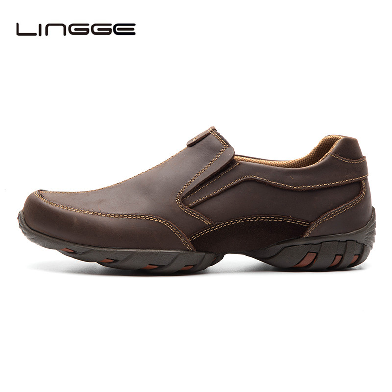 LINGGE Men's Oxfords Genuine Leather Shoes Summer Casual Shoes Slip On Designer Men Loafers #521-3