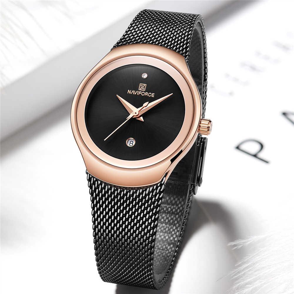 NAVIFORCE zegarki damskie moda zegarek 2019 wodoodporny zegarek damski ekskluzywny zegarek marki złoty zegarek kwarcowy prezenty dla kobiet
