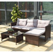 3 Pcs Rattan Wicker Deck Couch Outdoor Patio Sofa Set Garden Furniture HW58535(China)