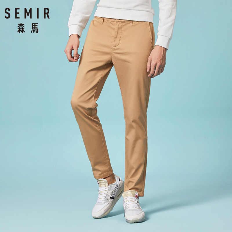 SEMIR ฤดูหนาวผู้ชายหนาผ้าลินินกางเกงขายาวฤดูใบไม้ผลิฤดูร้อนบางกางเกง pantalones กางเกงชายขนาดซิป