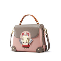 Fashion personality unique creative women handbags Calfskin leisure box shaped shoulder bag cartoon decorative Messenger bag