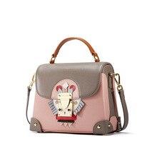 Fashion personality unique creative women handbags Calfskin leisure box shaped shoulder bag cartoon decorative Messenger