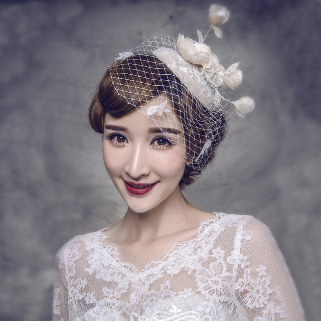 Vintage European Linen Lace Bridal Hats With Bow Pearls 2016 Wedding Hats For Brides Wedding Accessories Chapeu Feminino