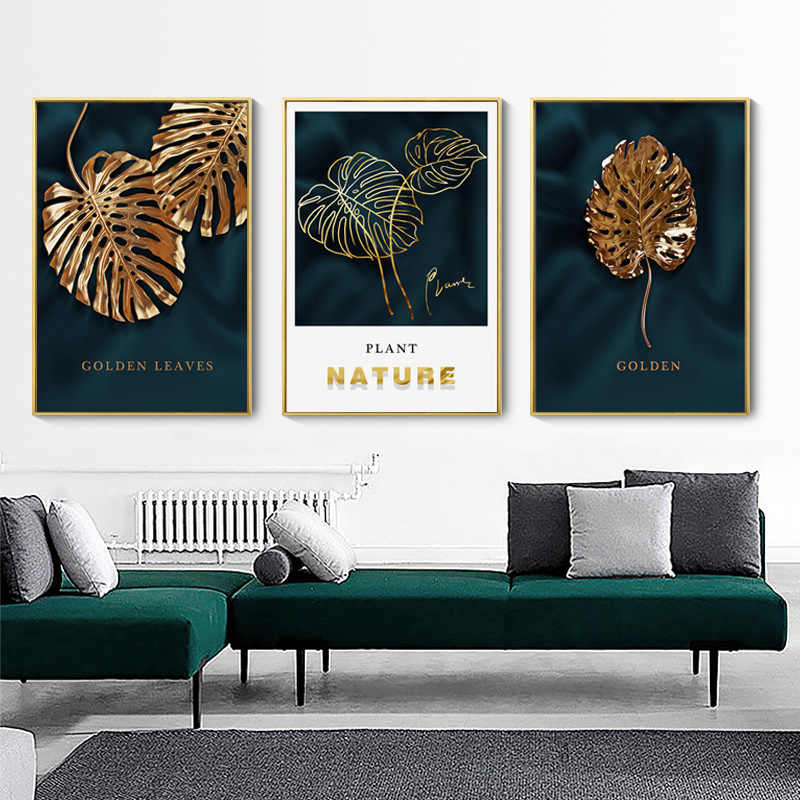 Nodic Botanic Nature Golden Leaves Pictures Modern Canvas Painting  Poster wall Print for Living Room Home Decor art NO Frame