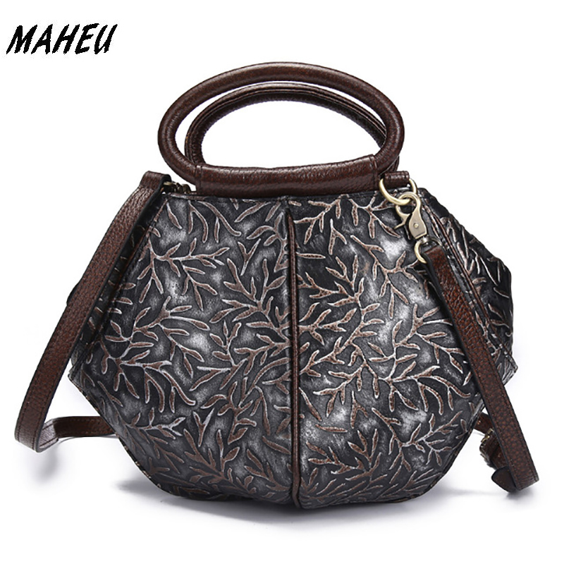 2017 New Fashion Genuine Embossed Leather Women Shoulder Bag Retro 100% Cowhide Leather Tote Handbags Messenger Bags For Dinner the new leather fashion cowhide handbags elegant retro handbag shoulder bag embossed hand rub color package