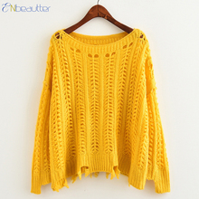 ENbeautter Women's Knitwear Sweater Hollow Out Irregular O-Neck Solid Pullovers Fashion Casual Loose Tops Jersey 2017 New Hot